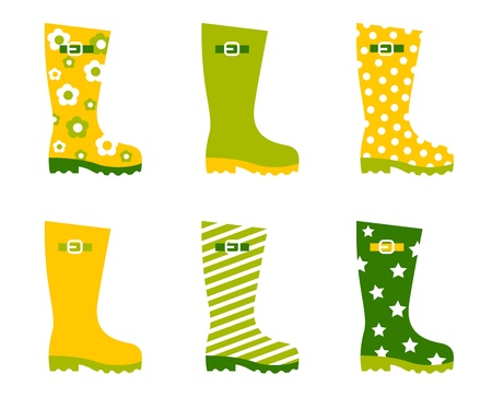 Wellington spring boots collection. Vector Vector