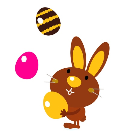 Easter cartoon bunny. Vector Illustration