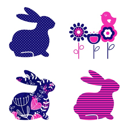Ester bunny and flowers set. Vector Vector