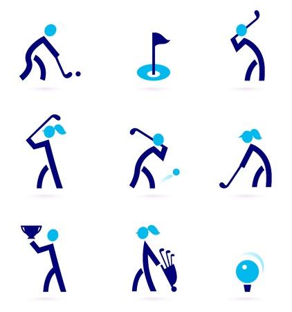 golf drapeau: Ic�nes de golf stylis�. Illustration Vecteur