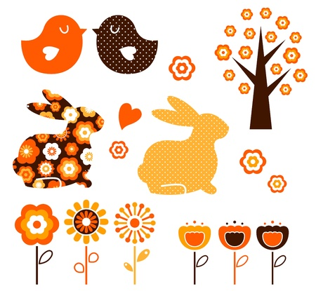 love birds: Spring and easter elements isolated on white. Vector Illustration