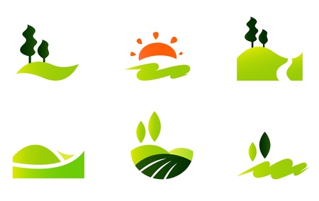 daybreak: Turismo y colinas icono de la colecci�n. Ilustraciones Vectoriales