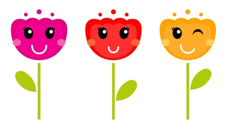 Cute colorful tulips. Vector cartoon Illustration Vector