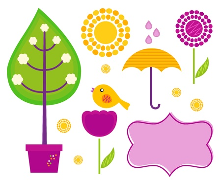 Cute spring and garden set. Vector Illustration Vector