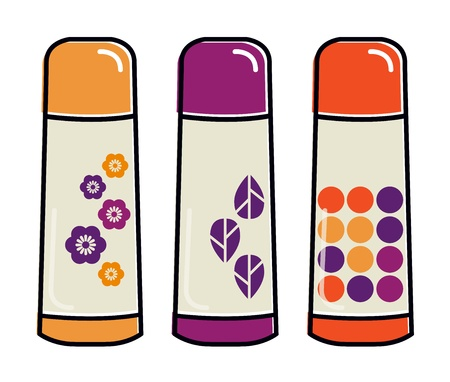 Colorful plastic thermos flask set. Vector Vector