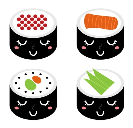 food groups: Sushi collection isolated on white. Vector