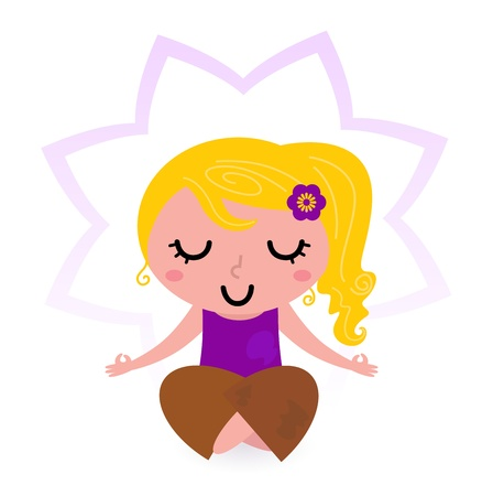 Cute blond girl practicing yoga asana. Vector Vector