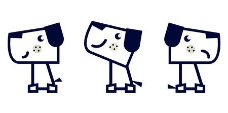 cubismo: Colecci�n de perro lindo. Ilustraci�n vectorial