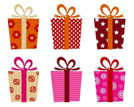 Set di scatole regalo fantasia per il compleanno / natale. Illustrazione Vettoriale
