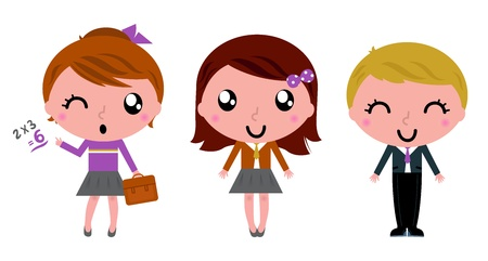 school girl uniform: Cute school children. Vector Illustration
