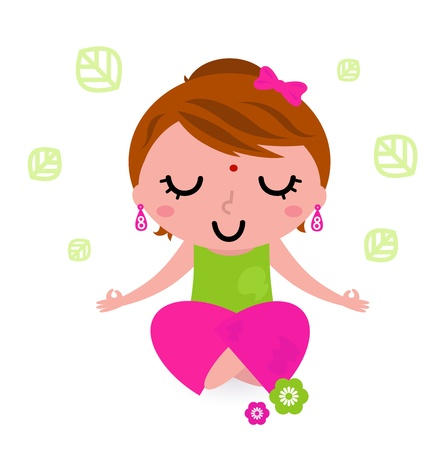 Cute girl practicing meditation. Vector Illustration Vector