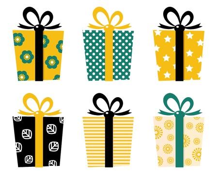 pr�sentieren: Set mit gemusterten Geschenkboxen f�r Geburtstag  weihnachten. Vektor