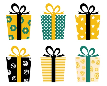 Set of patterned gift boxes for birthday  xmas. Vector