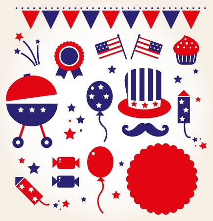 july: 4th of July icon collection.