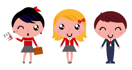 Cute school children Vector