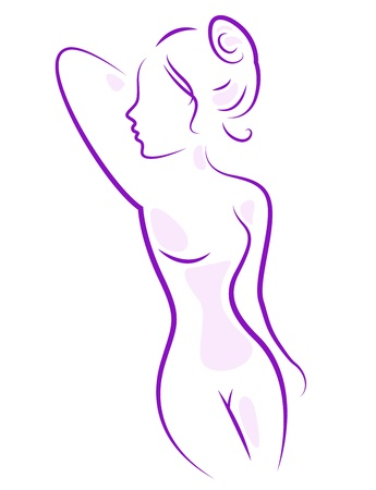 nude woman: Beautiful young nude woman silhouette