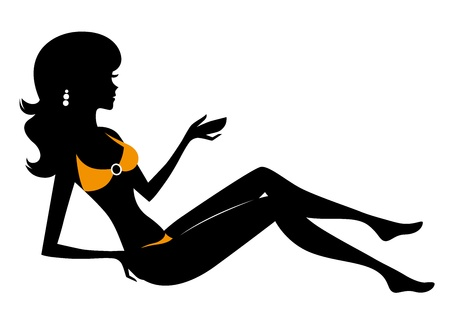 Woman in bikini silhouette. Vector