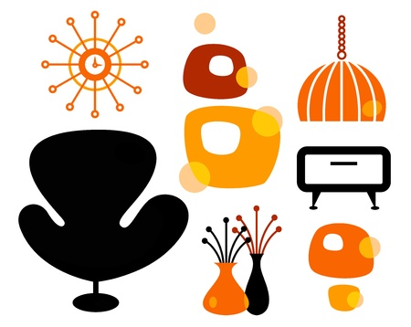 Black and orange 60s furniture collection.  Vector