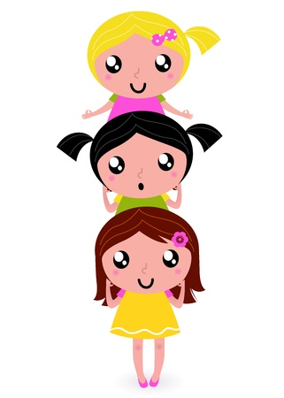 Happy childrens group.  Vector