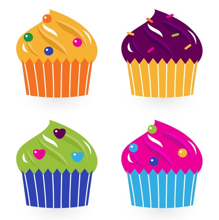 festive occasions: Cute cupakes. Illustration Illustration