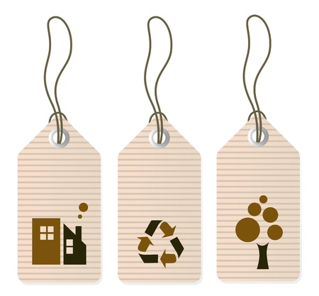 Retro ecology tags. Illustration Vector