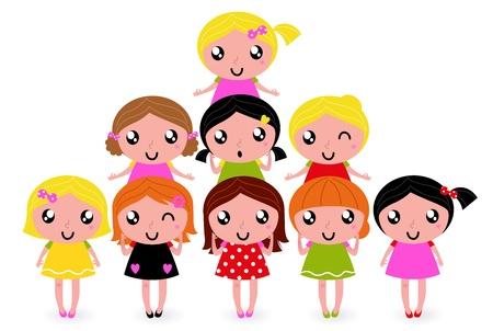 entre filles: Mignons petits enfants. Illustration de dessin anim�