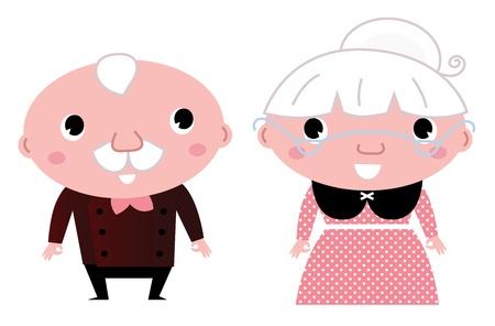 pensionado: Abuela y abuelo. Ilustración de dibujos animados