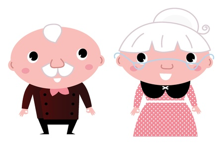 happy old age: Grandmother and Grandfather. Cartoon Illustration