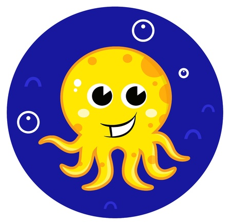 Cute happy sea Octopus. Illustration Vector