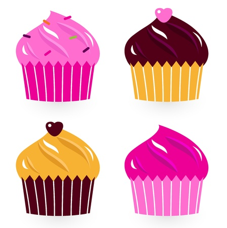 Cute cupakes illustration Vector
