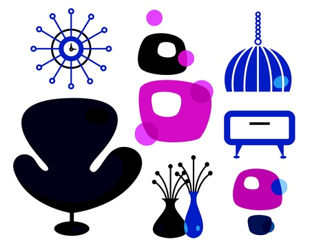 bauhaus: Interior retro items and decorations items - blue and pink
