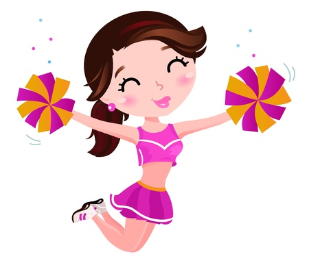 cute teen girl: Cute happy cheerleader Illustration Illustration