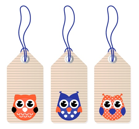 cartoon owl: Halloween owl tags isolated on white