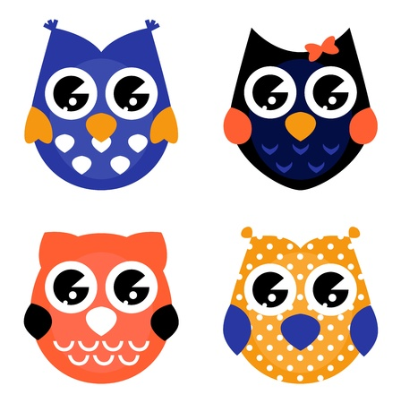 owl on branch: Owls colorful set cartoon
