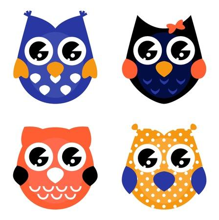civetta bianca: Owls fumetto colorato set