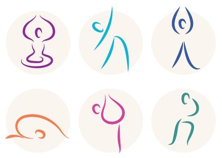 yoga meditation: set di yoga diverse pose. Vettoriali