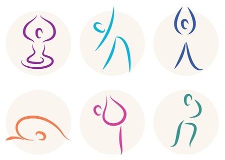 wellness icon: set of different yoga poses.