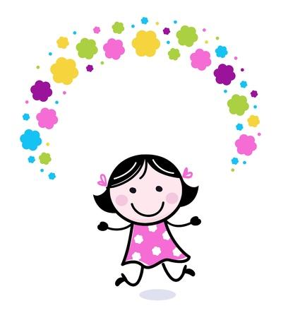 jugglery: Cartoon happy stitch child. Illustration