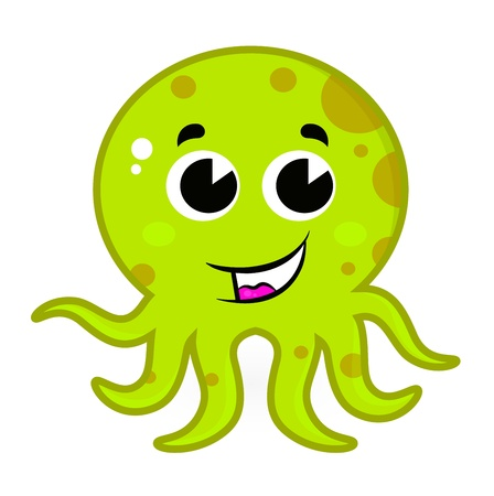 Cartoon octopus isolated on white. Vector