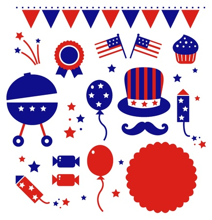 4th july icons set isolated on white.