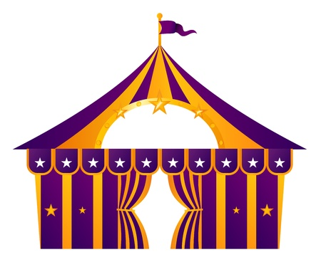 Circus tent illustration isolated on white. Vector Vector