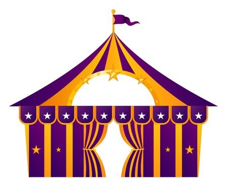 entertainment tent: Ilustraci�n de carpa de circo aislado en blanco. Vector
