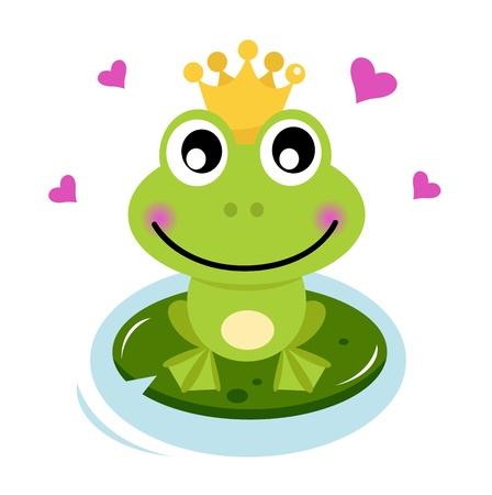 sapo: Frog Prince aislado en blanco. Cartoon ilustración vectorial