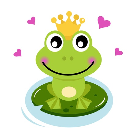 Frog prince isolato su bianco. Cartoon illustrazione vettoriale