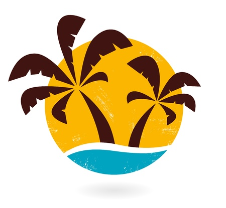 Tropical grunge palms with sea sign vector. Vector