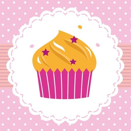 Retro pink cupcake isolated on dotted background. Vector Vector