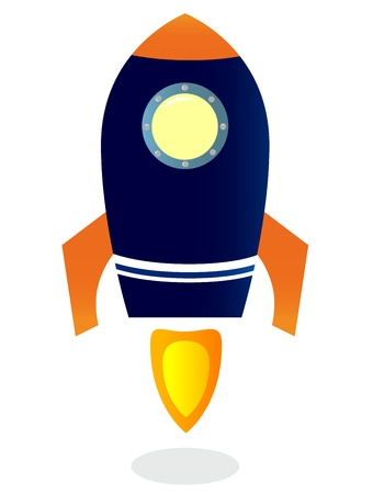 spacecraft: Blue Rocket ship. Vector cartoon Illustration