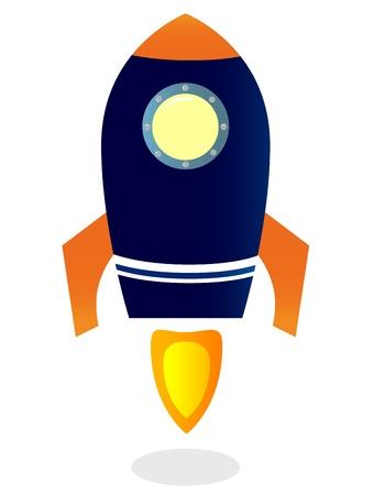 espaço: Navio de Rocket azul. Vector ilustração dos desenhos animados