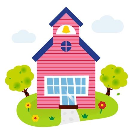 patio escuela: Edificio de la escuela. Vector ilustraci�n de dibujos animados