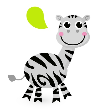Happy striped Zebra. Vector cartoon Illustration Vector